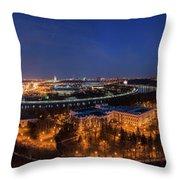 Moscow Night Panorama Throw Pillow