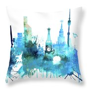 Moscow, Russia, Watercolor In Blue Throw Pillow