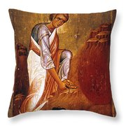 Moses Before Burning Bush Throw Pillow