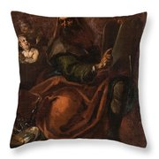 Moses Holding The Tablets Of Law Throw Pillow