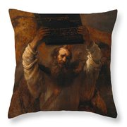 Moses With The Ten Commandments Throw Pillow