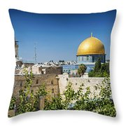 Mosques In Old Town Of Jerusalem Israel Throw Pillow