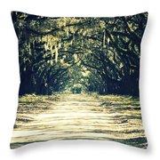Moss Green Road Throw Pillow