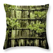 Mossy Bamboo Fence - Digital Art Throw Pillow