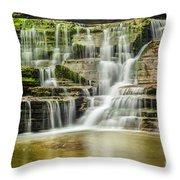 Mossy Flowing Waterfalls In Enfield Glen Throw Pillow