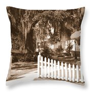 Mossy Live Oak And Picket Fence Throw Pillow