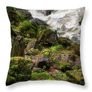 Mossy Rocks And Water Stream Throw Pillow