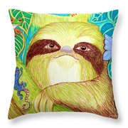 Mossy Sloth Throw Pillow