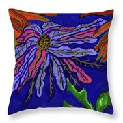 Most Unusual Poinsettia In A Midnight Blue Sky Throw Pillow