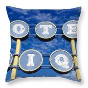 Motel Unique Sign Seligman Az Throw Pillow