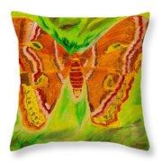Exuberant Coral Moth Throw Pillow