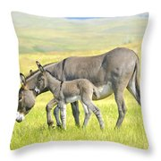 Mother And Baby Burro Throw Pillow