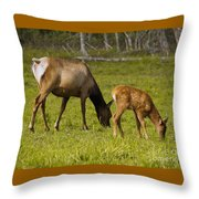 Mother Elk And Fawn Throw Pillow