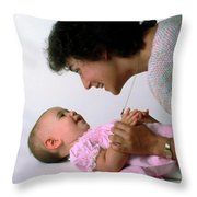 Mother And Baby Girl Smiling Throw Pillow