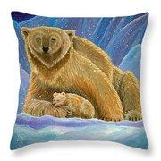 Mother And Baby Polar Bears Throw Pillow