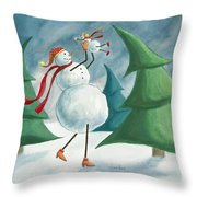 Mother And Baby Snowmen Throw Pillow