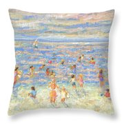 Mother And Child At The Beach Throw Pillow