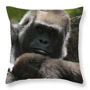 Mother And Child Gorillas1 Throw Pillow