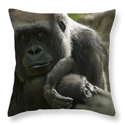 Mother And Child Gorillas4 Throw Pillow