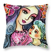 Mother And Child In Blue Throw Pillow
