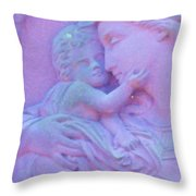 Mother And Child In Lavender Throw Pillow