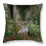 Mother And Child In The Flowers Throw Pillow