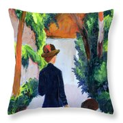 Mother And Child In The Park Throw Pillow