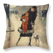 Mother And Child On A Street Crossing Throw Pillow