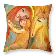 Mother And Child On Horse Throw Pillow