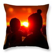 Mother And Child On Sunset Throw Pillow
