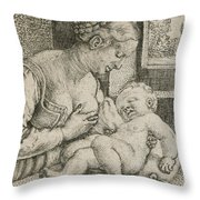 Mother And Child With Skull And Hourglass Throw Pillow