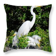 Mother And Children Throw Pillow