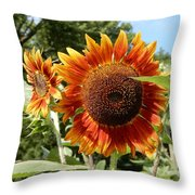 Mother And Daughter Sunflowers Throw Pillow