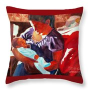 Mother And Newborn Child Throw Pillow by Kathy Braud