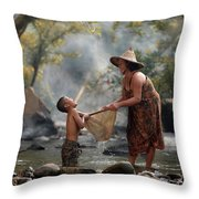 Mother And Son Are Happy With The Fish In The Natural Water Throw Pillow
