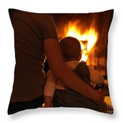 Mother And Son Sitting In Front Of A Firepalce Throw Pillow