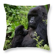 Mother And Suckling Baby Gorillas Throw Pillow