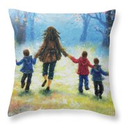 Mother And Three Sons  Throw Pillow