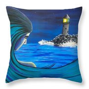 In The Glow Of The Lighthouse  Throw Pillow