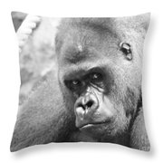 Mother Gorilla In Thought Throw Pillow