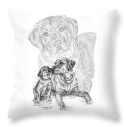 Mother Labrador Dog And Puppy Throw Pillow