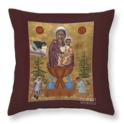 Mother Of God Life Giving Spring With Mother Macaria Of Russia And Blessed Margaret Of Castello 179 Throw Pillow