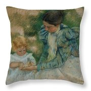 Mother Playing With Child Throw Pillow