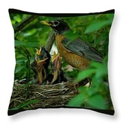 Mother Robin And Her Young Throw Pillow