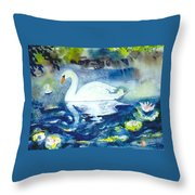 Mother Swan And Baby Throw Pillow