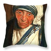 Mother Teresa  Throw Pillow by Carole Spandau