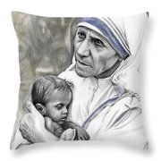 Mother Teresa. God Bless This Child Throw Pillow