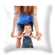 Mother With Little Son Throw Pillow