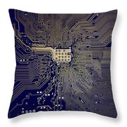 Motherboard Architecture Blue Throw Pillow