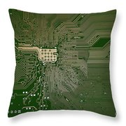 Motherboard Architecture Green Throw Pillow